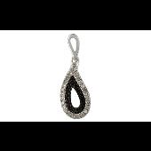 Подвеска Капля с чёрными и белыми бриллиантами, белое золото