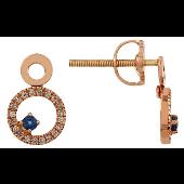 Серьги-пуссеты круглые с бриллиантами и сапфиром, красное золото