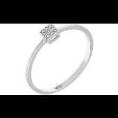 Кольцо с бриллиантами в квадрате, белое золото