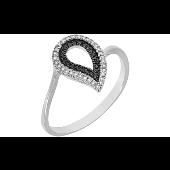 Кольцо Капелька с чёрными и белыми бриллиантами, белое золото