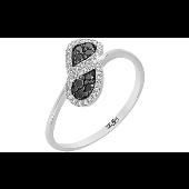 Кольцо Капельки с чёрными и белыми бриллиантами, белое золото