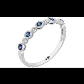 Кольцо Дорожка с бриллиантами и сапфирами, белое золото