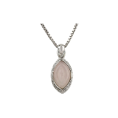 Колье с розовым кварцем и фианитами на квадратной цепи, серебро