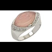Кольцо с фианитами и имитацией розового кварца, серебро