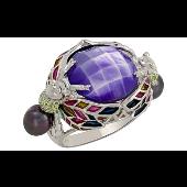 Кольцо Лягушки с чёрным жемчугом, сиреневым фианитом и цветной эмалью, серебро