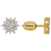 Серьги Звездочка Пусеты с бриллиантом, желтое золото