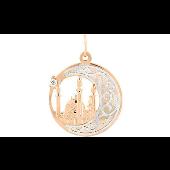 Подвеска Полумесяц с мечетью, фианитом и алмазными гранями, красное золото 585 проба