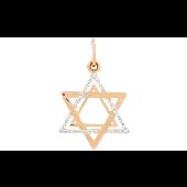 Кулон Звезда Давида с фианитами, красное золото