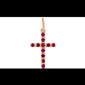 Крест с рубинами из красного золота 585 пробы