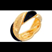 Кольцо Косичка с золотым покрытием без вставки, серебро 875 проба