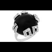 Кольцо с круглым чёрным фианитом и прозрачными фианитами, серебро