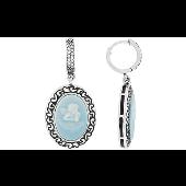 Серьги длинные Камея с Ангелом, карбон с  фианитами, серебро