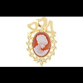 Брошь-подвеска Камея с терракотовым карбоном и фианитами, серебро с золотым покрытием