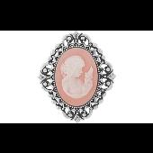 Брошь-подвеска Камея с розовым карбоном, серебро