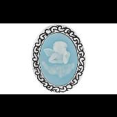 Брошь-подвеска Камея Ангелочек с голубым карбоном, серебро