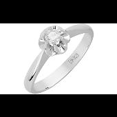 Кольцо Роза с бриллиантом, белое золото