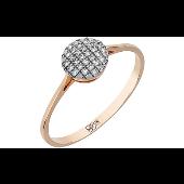 Кольцо с бриллиантами в круге, красное золото