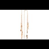 Серьги-продевки с сердечками и цепочками без камня, красное золото