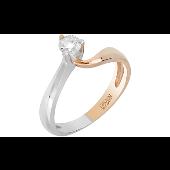 Кольцо с бриллиантом, красное и белое золото