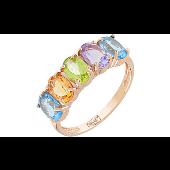 Кольцо Дорожка с аметистом, топазом, хризолитом и цитрином, красное золото