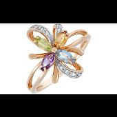 Кольцо Цветок с аметистом, топазом, хризолитом, цитрином и фианитом, красное золото