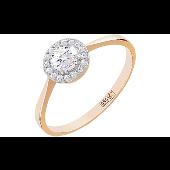 Кольцо Принцесса с бриллиантами, красное золото