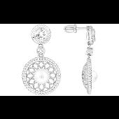 Серьги-пусеты длинные ажурные с искусственной жемчужиной и фианитами, серебро