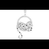 Подвеска Леопард на круге с фианитами, серебро