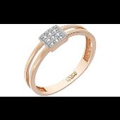 Кольцо с бриллиантами в квадрате, красное золото