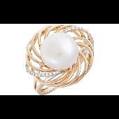 Кольцо с бриллиантами и жемчугом, красное золото