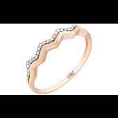 Кольцо Зигзаг с бриллиантами, красное золото