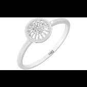 Кольцо с бриллиантами в круге, белое золото