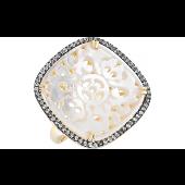 Кольцо Ажурное с перламутром, фианитами и золотым покрытием, серебро