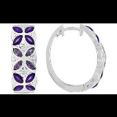 Серьги конго Бабочки  с фиолетовой эмалью и прозрачными фианитами, серебро