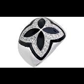 Кольцо Узор с фианитами и чёрной эмалью, серебро