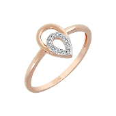 Кольцо Капелька с бриллиантами, красное золото