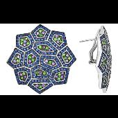Серьги Калейдоскоп с цветными фианитами, серебро
