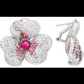 Серьги Трилистник с розовыми и прозрачными фианитами, серебро