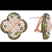 Серьги Четырехлистник с лаймовыми и прозрачными фианитами, серебро с черным и золотым покрытие