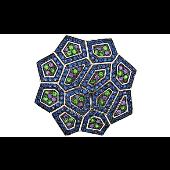 Подвеска Калейдоскоп с синими, зелеными и сиреневыми фианитами, серебро