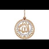 Подвеска Ислам с фианитами, красное золото