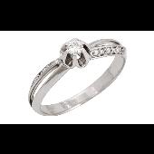 Кольцо Роза с бриллиантами, белое золото