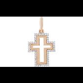 Крест без распятия прямоугольный с фианитами, красное золото
