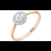 Кольцо Малинки с бриллиантами, красное золото
