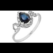 Кольцо Капелька с бриллиантами и сапфиром, белое золото