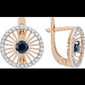 Серьги Колибри с бриллиантами и сапфиром, красное золото