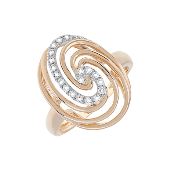 Кольцо Водоворот с бриллиантами, красное золото