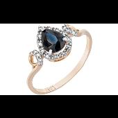 Кольцо Капелька с бриллиантами и сапфиром, красное золото