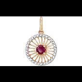 Подвеска Колибри с бриллиантами и рубином, красное золото