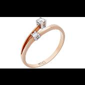 Кольцо с двумя бриллиантами, красное золото